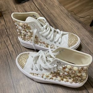 Chuck Taylor All Star White Platforms Bedazzled